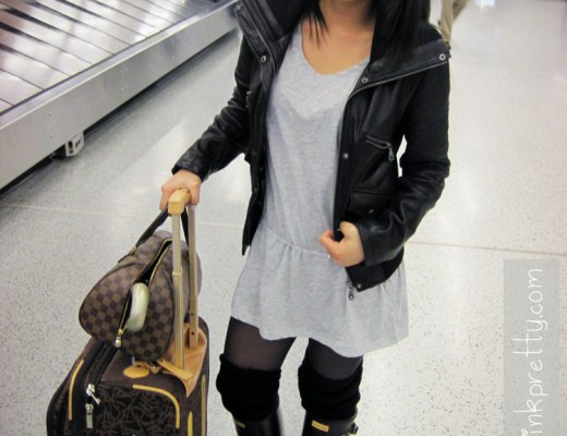 An Dyer in DKNY Leather Moto Jacket, Forever 21 Heather Grey Tunic and Leg Warmers, Hunter Boots