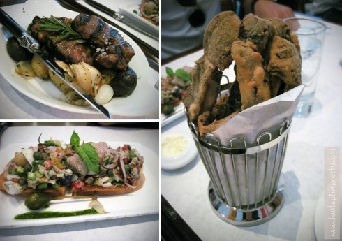 Bottega Louie Lamb Porterhouse, Tuna Nicoise Crostini and Portobello Fries Appetizers
