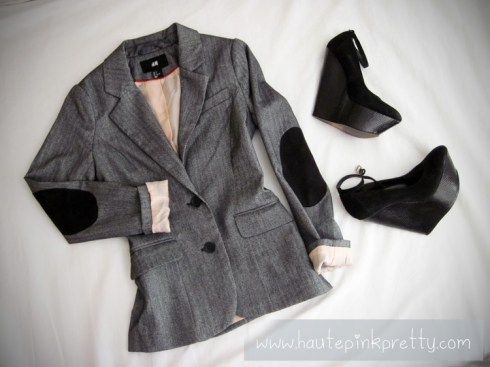 An Dyer's H&M Herringbone Sport Coat, Wild Pair Lola Wedges