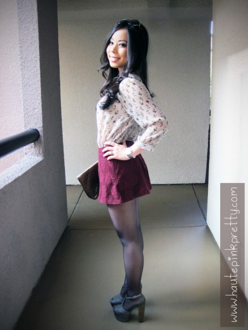 An Dyer in Cranberry Papaya Velour Blazer, Forever 21 Grey Cardigan, Floral Chiffon Blouse and Burgundy Lace Shorts and Brass Plum Clutch