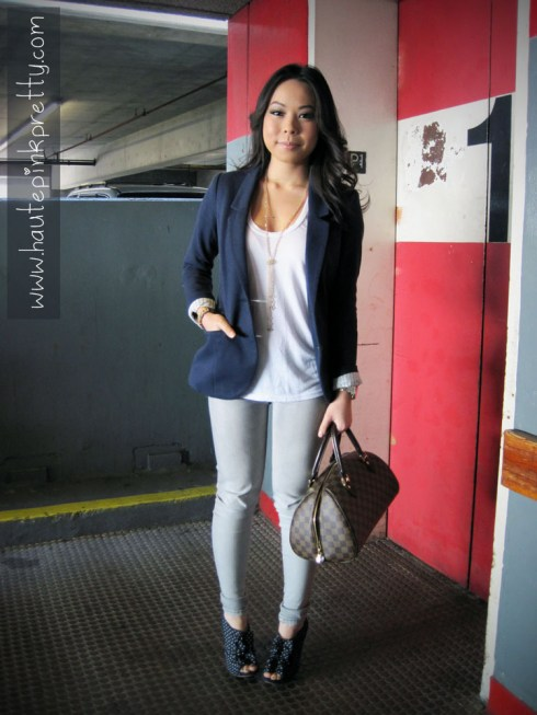 An Dyer in H&M Navy Sport Coat, Brass Plum Tee, Foreign Exchange Grey Jeggings, Forever 21 Necklace, Louis Vuitton Ribera Mm, Sole Society Karla