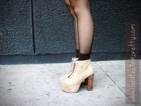 Jeffrey Campbell Taupe Suede Lita's with Brown Ankle Socks and Black Tights side view