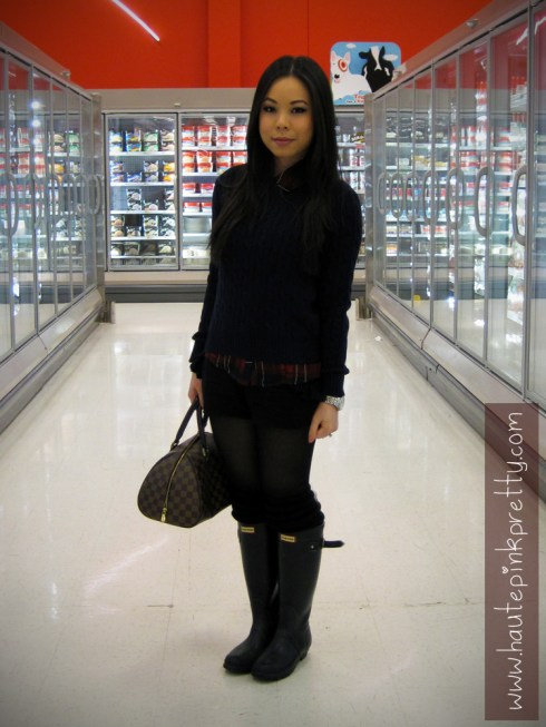 American Apparel Navy Cable Knit Sweater, Forever 21 Plaid Blouse, Black Ruffle Shorts and Leg Warmers, Hunter Welly Boots and Louis Vuitton Ribera Mm