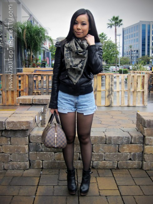 An Dyer in Buffalo David Bitton Scarf, DKNY Leather Moto Jacket, Vintage Levi's Cutt-Offs, NYLA Boots and Louis Vuitton Ribera Mm