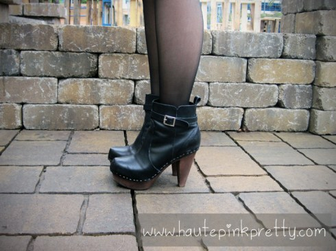 An Dyer in NYLA Ankle Boots with Sheer Black Tights
