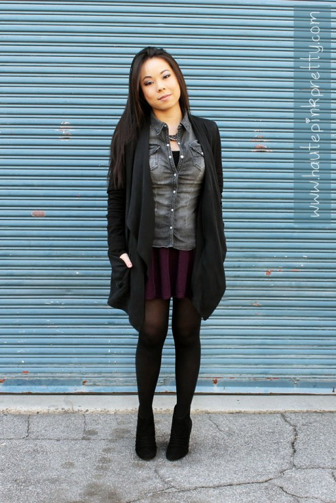 An Dyer in TopShop Black Silk Waterfall Jacket, H&M Black Denim Shirt, Banana An Black Pearl Bead & Chain Necklace, Forever 21 Aubergine Purl Knit Swing Skirt, SoleSociety Abby Boots