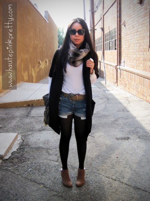 Black Oversized Sweater | Forever 21 Faux Fur Snood and Thermal Top | Vintage Levi's Cut-Offs | Brass Plum Gold Belt | Big Buddha Grey Fringe Rita Hobo | SoleSociety Heather Boots