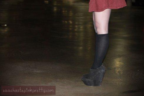 An Dyer in American Apparel Corduroy Circle Skirt in Truffle, Merona Knee High Socks, ShoeMint Pauline Black Suede