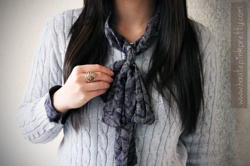An Dyer in Forever 21 Navy Chiffon Paisley Sheer Tie Neck Blouse, American Apparel Cable Knit Pull Over in Light Grey