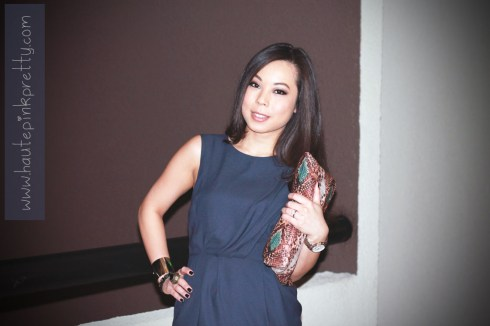 An Dyer in Navy TopShop Dress, Zara Snake Print Bag, and Forever 21 Gold Cuff Bracelet