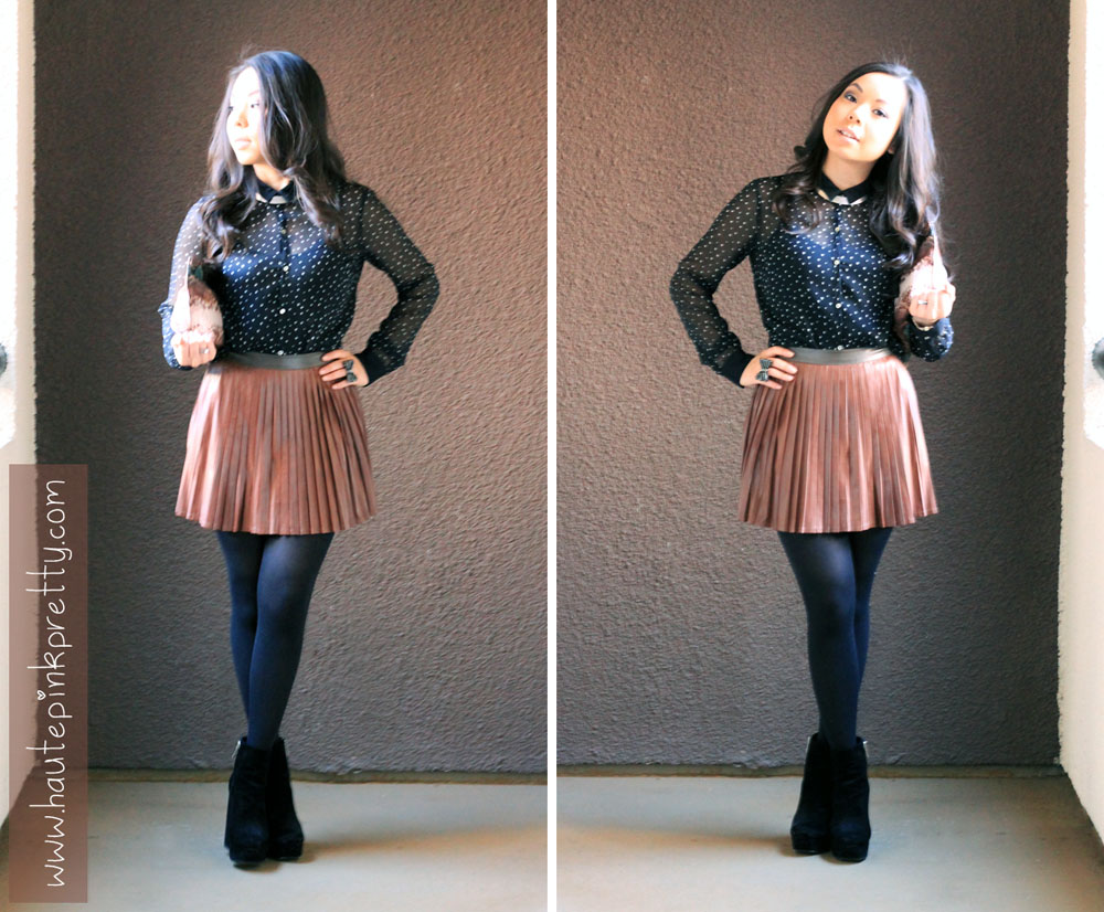 HautePinkPretty - Brown Faux Leather Pleated Skirt