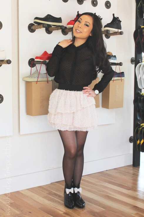 An Dyer at Moo Venice in Zara Swiss Dot Blouse, H&M Tutu Skirt, Worthington Sheer Tights & Moo Venice Shoes
