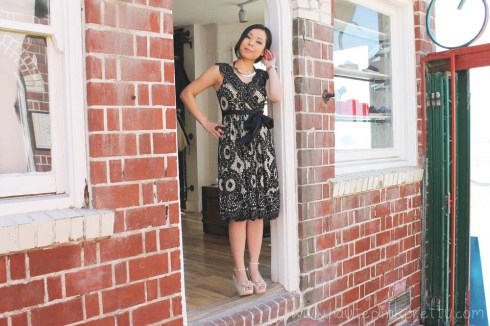 An Dyer at Moo Venice in Diane von Furstenberg Dress, H&M Necklace, Forever21 Ring and Moo Venice Shoes