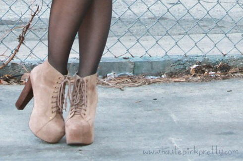 An Dyer in Jeffrey Campbell Lita Taupe Suede with Sheer Tights