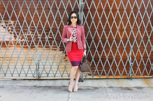 An Dyer in Cranberry Papaya Velour Blazer, Staring At Stars Chiffon Button-Down Shirt, Express High-Waist Color Block Pencil Skirt, Sam Edelman Lorissa Nude Leather, Rayban New Wayfarer Matte Black, Louis Vuitton Ribera Mm, Banana An Ultimate Layered Cuff, JCPenney Ring
