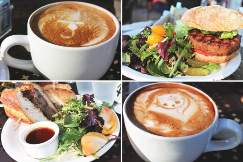 Urth Caffe Spanish Latte, Turkey Burger & Roast Beef Sandwich