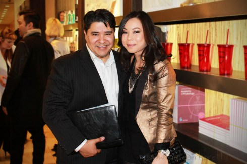 An Dyer with North American Leader & Managing Director of P&G Salon Processonal Reuben Carranza at PG Wella Trendvision Bellus Salon
