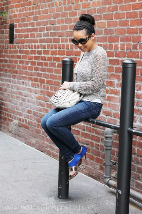 Old Navy Sea Salt Crochet Sweater | Levi's The Legging Skinny Jeans | Glint & Gleam Flight Take Off Ring | Marc Jacob Wishbone Necklace and Latin Rings | Zara Blue Combined Heeled Sandal | Mellie Bianco Studded Fringe Bag | Prada Baroque Round Two Toned Sunglasses