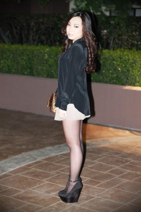 Zara Metal Tip Black Silk Shirt | H&M Pleated Chiffon Shorts | Wild Pair Lola Wedges