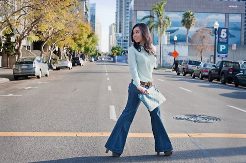 An Dyer wearing Zara Swiss Dot Shirt, Frankie B Wide Leg Jeans, Forever 21 Suedette Belt & Gold Cuff, Jessica Simpson Dany Shoes, Jeffrey Lazaro Shell Print Clutch, Louis Vuitton Transparent Monogram Inclusion Translucide Pendant Necklace, Banana An Turquoise Ring