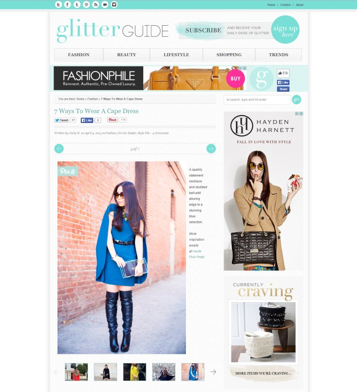 An Dyer HautePinkPretty featured on Glitter Guide How To Wear Cape Dress