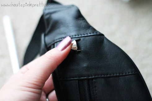 DIY Studded Fanny Pack by HautePinkPretty - Press the stud's prong into the leather to mark where to cut