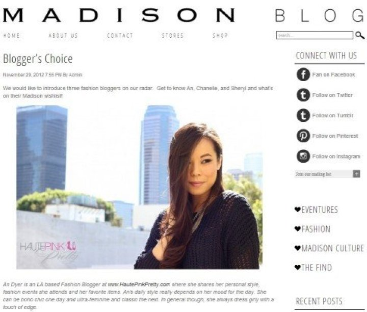 HautePinkPretty feature on the Madison LA Blog