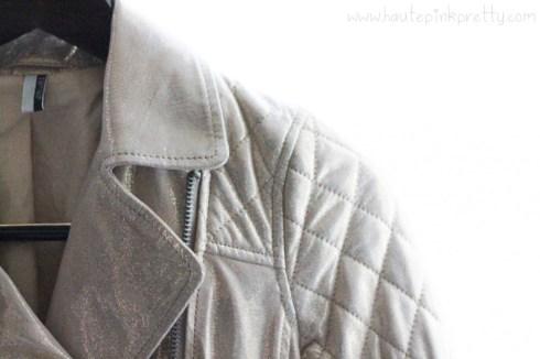 TopShop Gold Soft Leather Biker Jacket