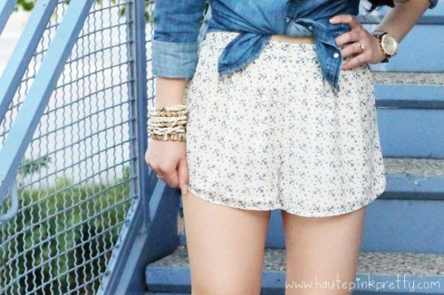 An Dyer wearing Forever 21 Life In Progress Vintaged Denim Top, Necklace, Chiffon Star Anchor Shorts, Michael Kors Parker Chronograph Leather Watch, Glint & Gleam Bracelets, Gold Spiked Bracelets