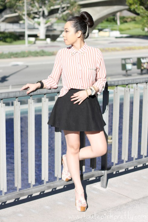 www.HautePinkPretty.com - An Dyer wearing Forever 21 Pink Sheer Striped High-Low Shirt with DIY Gold Cone Studs, American Apparel Circle Skirt in Black Denim, Jessica Simpson Dany Oatmeal Vintage Floral Platform Sandals, ASOS Spike Ear Cuff, Chain And Comb, HauteLook Leather Cuff with Gold Hardware, Gold Spiked Bracelet, Michael Kors Mother Of Pearl Chronograph Watch, Glint & Gleam Beige Versatile Vegan Leather 3 Bracelet Set, Rosary Bracelet