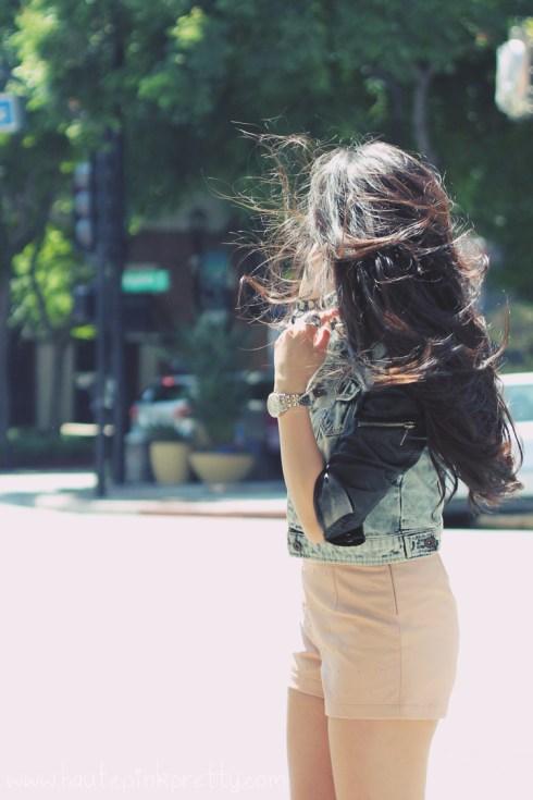 www.HautePinkPretty.com - An Dyer wearing Zara Leather Denim Combined Sleeve Jacket, Forever 21 Tee, Rhinestoned Stud Bracelet, and Beaded Faux Leather Shorts, Marc Jacob Latin Rings