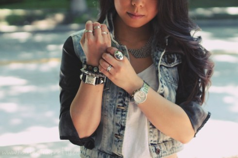 www.HautePinkPretty.com - An Dyer wearing Zara Leather Denim Combined Sleeve Jacket, Forever 21 Tee, Rhinestoned Stud Bracelet, and Beaded Faux Leather Shorts, Marc Jacob Latin Rings, TopShop Silver Mesh Collar Bib Chain Link Peter Pan Necklace