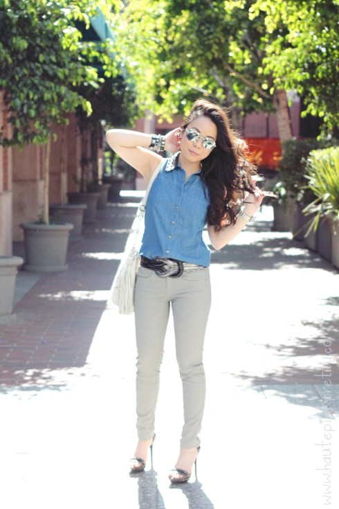 www.HautePinkPretty.com - An Dyer wearing Forever 21 Faux Leather Collar Denim Shirt & Interlocking Belt, Zara TRF Waxed Effect Trousers, KW 'Rush' Mirrored Aviator Sunglasses, Mellie Bianco Bag, Michael Kors Mother of Pearl Chronograph Watch, Solesociety Val Sandals