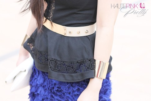 www.HautePinkPretty.com - An Dyer wearing TopShop Lace Insert Collar Peplum Top, ASOS Plate And Spike Detail waist Belt, Blaque Label Blue Tutu Skirt, Hauskrft While Pebbled Leather Clutch, Gold Double Cuffs