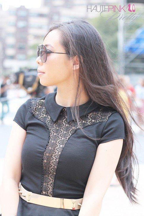 www.HautePinkPretty.com - An Dyer wearing TopShop Lace Insert Collar Peplum Top, ASOS Plate And Spike Detail waist Belt, Blaque Label Blue Tutu Skirt, Hauskrft While Pebbled Leather Clutch, Celine Aviators, Gold Double Cuffs