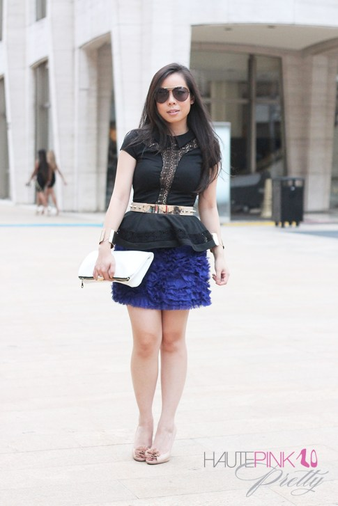 www.HautePinkPretty.com - An Dyer wearing TopShop Lace Insert Collar Peplum Top, ASOS Plate And Spike Detail waist Belt, Blaque Label Blue Tutu Skirt, Hauskrft While Pebbled Leather Clutch, Celine Aviators, Nine West Excavate Nude Peeptoe Pumps, Gold Double Cuffs