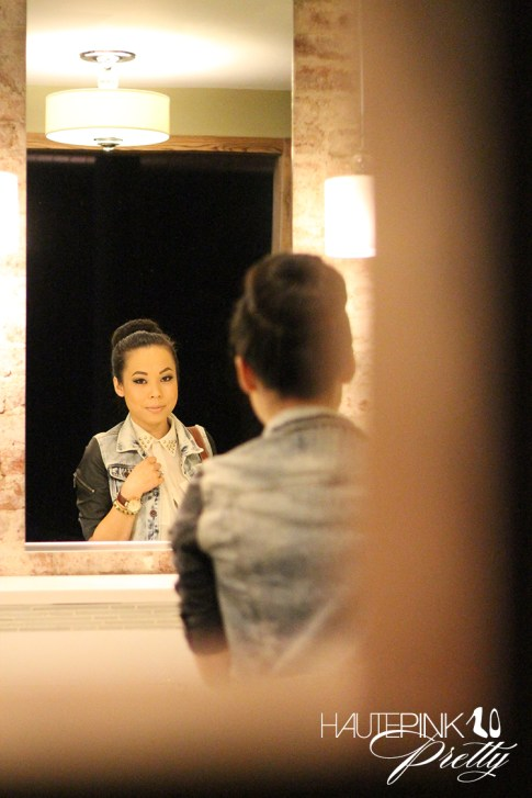 IFBCon 2012 - An Dyer wearing SwayChic Studded Collar Blouse, Zara Combined Denim Leather Jacket, Donut Bun, TopKnot