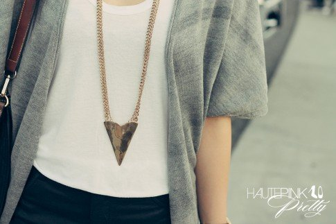 An Dyer wearing BP Scoop Neck Tee, LAMade Convertible Wrap Cardigan Heather Grey, Faux Leather Shorts, Glint & Gleam Necklace