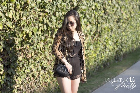 www.HautePinkPretty.com - An Dyer wearing Celine SC1489 Black Aviator Sunglasses, Eberjy Fanny Teddy, ShopWasteland Animal Cheetah Jaguar Print Jacket, Love Moschino Clutch Bag, Sole Society Rumor Boots and Glint & Gleam Sideways cross necklace, arrow bracelet and gold bar two finger ring c/o ShopLately