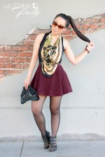 www.HautePinkPretty.com - An Dyer wearing Elizabeth & James Lafayette Sunglasses, H&M Jaguar Scarf, ASOS Oui Non Belt, American Apparel Circle Skirt in Truffle Cordouroy, Glint & Gleam Gold Sparkled To The Point Bracelet, Delicate Danger Spike Bangle and Gold Bar Double Finger Ring, Jeffrey Campbell Starburst with sheer tights pantyhose