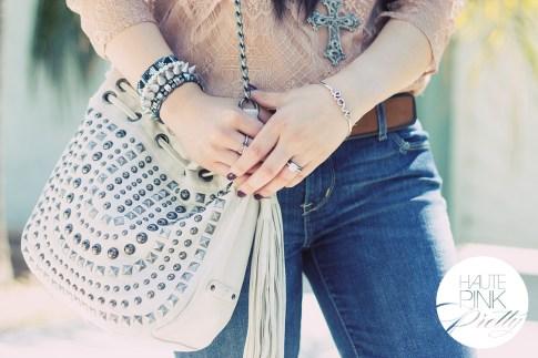 www.HautePinkPretty.com - An Dyer wearing Levi's Skinny Jeans, Forever 21 Mauve Dusty Rose Blush Lace Shirt, Cross Necklace & Suede Belt, Melie Bianco Cream White Ivory Fringe Bag, Glint & Gleam Silver Love Bangle Bracelet c/o ShopLately