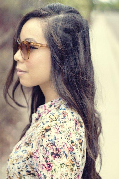 www.HautePinkPretty.com - An Dyer wearing Zara Mulberry Silk Floral Studded Blouse, Elizabeth & James Lafayette Sunglasses
