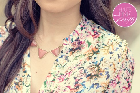 www.HautePinkPretty.com - An Dyer wearing Zara Mulberry Silk Floral Studded Blouse, Glint & Gleam Cut Classic Collar Necklace c/o Shoplately