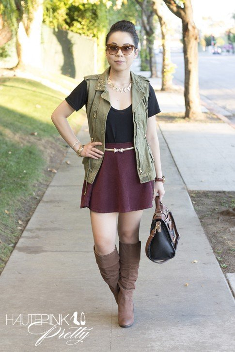 www.HautePinkPretty.com - An Dyer wearing Zara Studded Military Vest, American Apparel Truffle Corduroy Circle Skirt, Diba Cam O Meel Boots Light Brown, Melie Bianco Darlene Satchel, Glint & Gleam HautePinkPretty's Bolted Leather Bracelet in Khaki, The Bentley Blonde Necklace, Right Direction Bangle Set and Finishing Touch Cuff c/o ShopLately, Elizabeth & James Lafayette Sunglasses, Asos Jaguar Belt, Michael Kors Parker
