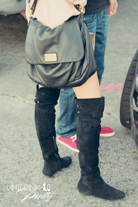 April Cu outfit details Calvin Klein Suede OTK Flat Boots and Marc Jacob bag