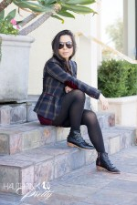 www.HautePinkPretty.com - An Dyer wearing Celine SC1489 Black Aviators, Zara Checked Blazer with Oxblood Elbow Patches, Forever 21 Burgundy Maroon Oxblood Lace Shorts & Black Rosary Necklace, Glint & Gleam silver accessories c/o shoplately, opaque black tights with Modern Vice x Natalie & Dylana Suarez JETT Boots in Black