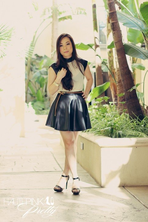 www.HautePinkPretty.com An Dyer wearing Ivory chiffon contrast leather top, Black leather skater skirt, mult metal reptile belt brown, Matte Gold Rounded Cuff from Shop Publik, Sole Society Val sandals