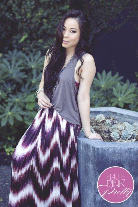 www.HautePinkPretty.com - An Dyer wearing Line & Dot Sunburst Pleat maxi Skirt, Forever 21 Tank & Rosary Necklace, Glint & Gleam Jewelry co ShopLately, Rayon Bralette in Red Velvet co Honeydew Intimates 4