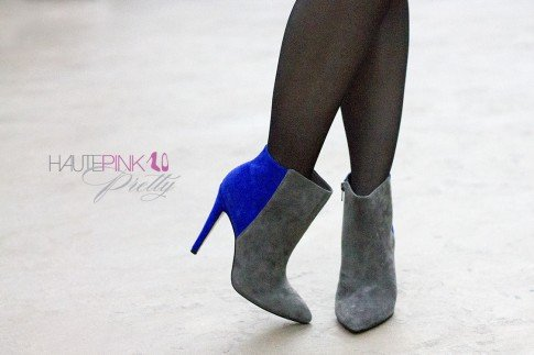 An Dyer wearing Sole Society Aster Boots with Sheer Tights