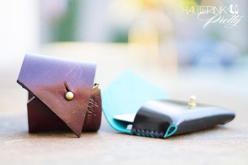 www.HautePinkPretty.com - HAUSKRFT 1 of 1 Leather Cuff & Genuine Italian Patent Leather Envelope Style Business Card Holder